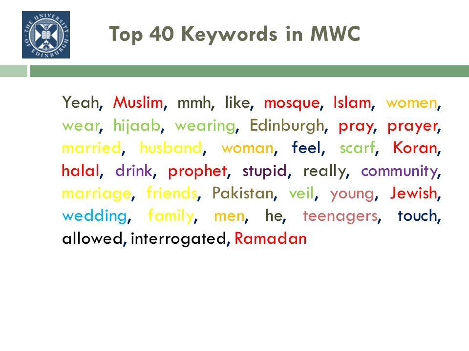 Top 40 Keywords in MWC Yeah, Muslim, mmh, like, mosque, Islam, women, wear, hijaab, wearing, Edinburgh, pray, prayer, married, husband, woman, feel, s