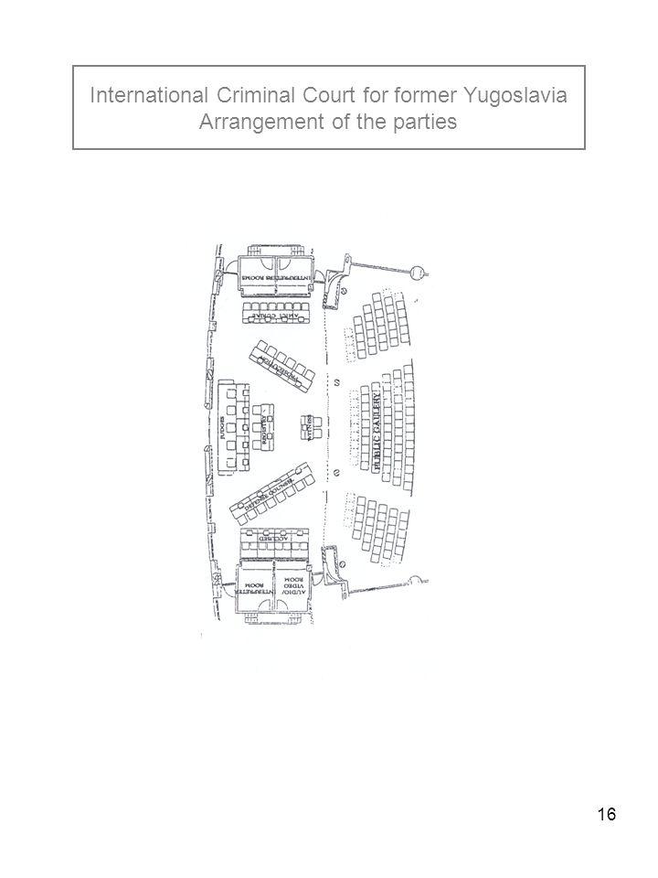 16 International Criminal Court for former Yugoslavia Arrangement of the parties