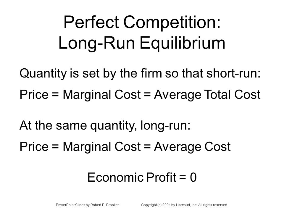 PowerPoint Slides by Robert F. BrookerCopyright (c) 2001 by Harcourt, Inc. All rights reserved. Perfect Competition: Long-Run Equilibrium Price = Marg