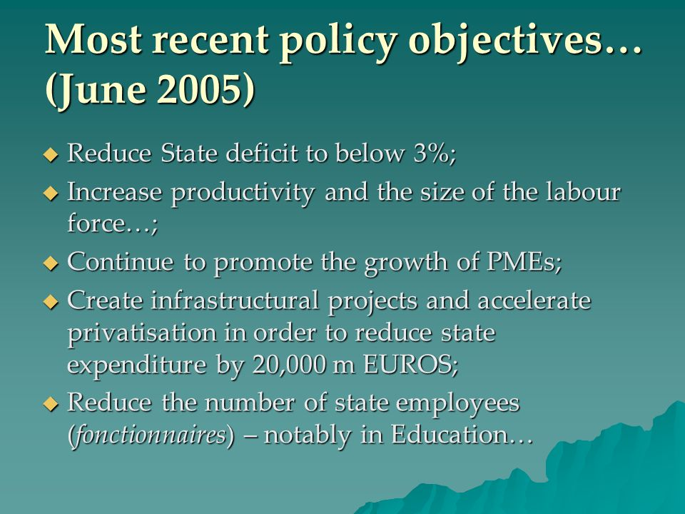Most recent policy objectives… (June 2005) Reduce State deficit to below 3%; Reduce State deficit to below 3%; Increase productivity and the size of t
