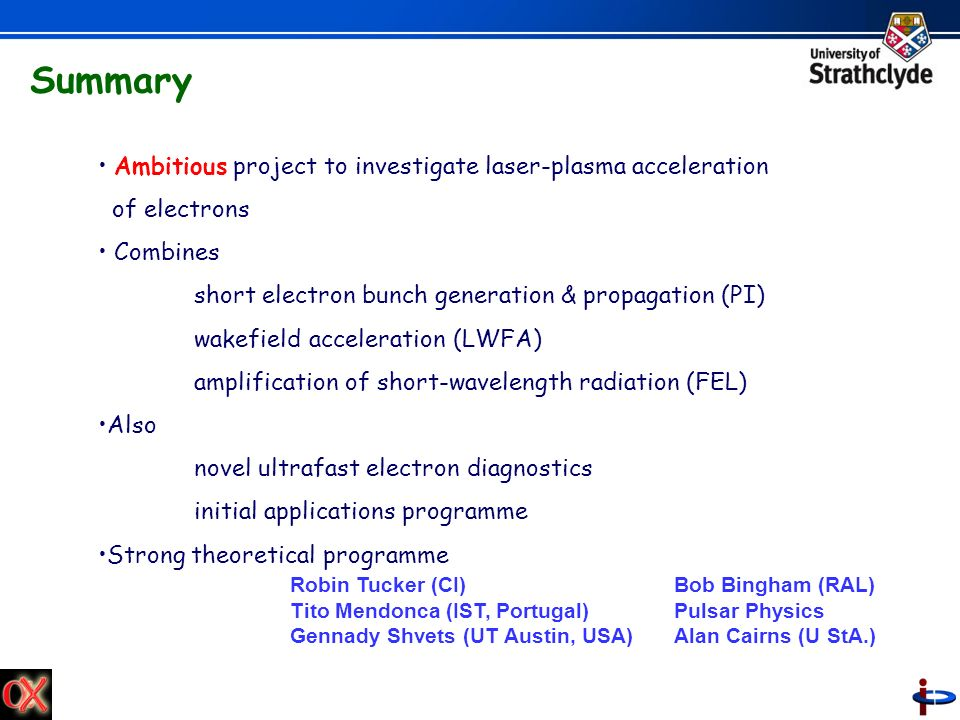Summary Ambitious project to investigate laser-plasma acceleration of electrons Combines short electron bunch generation & propagation (PI) wakefield