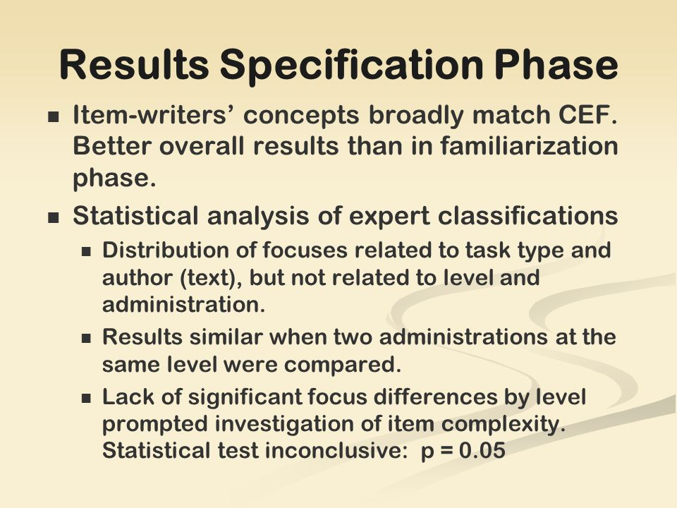 Results Specification Phase Item-writers concepts broadly match CEF.