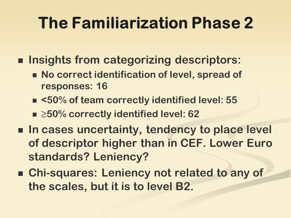 The Familiarization Phase 2 Insights from categorizing descriptors: No correct identification of level, spread of responses: 16 <50% of team correctly identified level: 55 50% correctly identified level: 62 In cases uncertainty, tendency to place level of descriptor higher than in CEF.