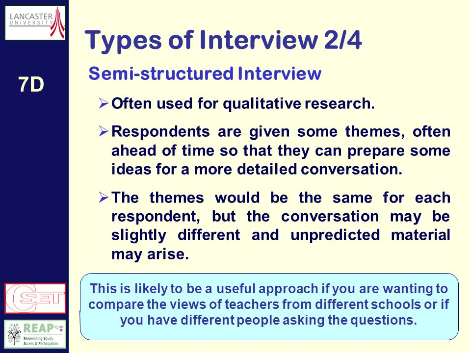 7D Types of Interview 1/4 Chat This informal version may be the way that evaluation ideas are tested or confirmed with a line manager or colleague.