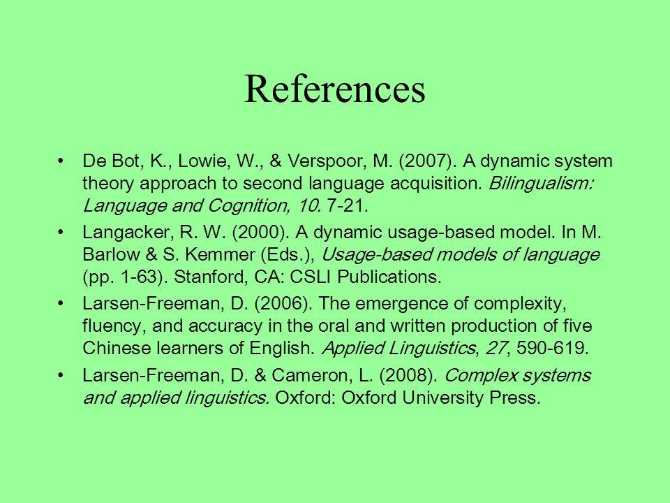 References De Bot, K., Lowie, W., & Verspoor, M. (2007).