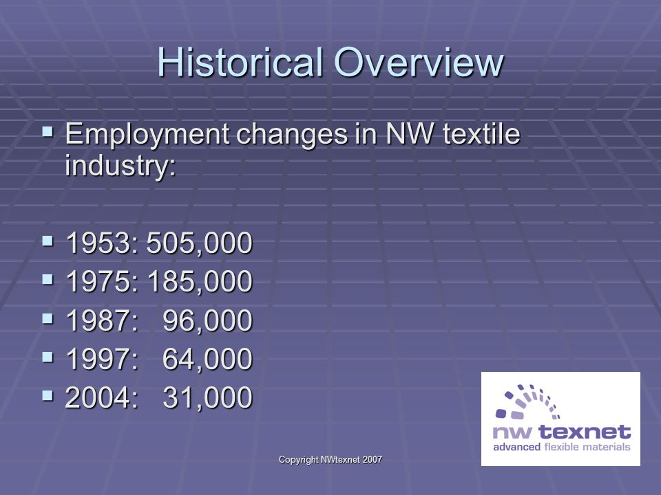 Copyright NWtexnet 2007 Historical Overview Employment changes in NW textile industry: Employment changes in NW textile industry: 1953: 505,000 1953: 505,000 1975: 185,000 1975: 185,000 1987: 96,000 1987: 96,000 1997: 64,000 1997: 64,000 2004: 31,000 2004: 31,000