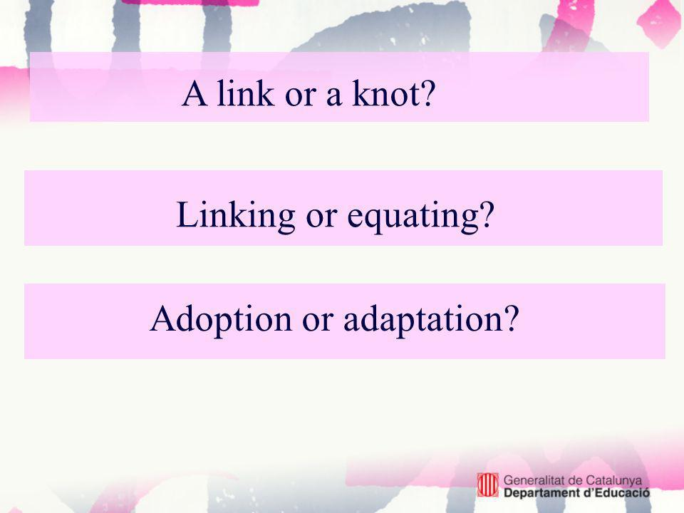 Linking or equating? Adoption or adaptation? A link or a knot?