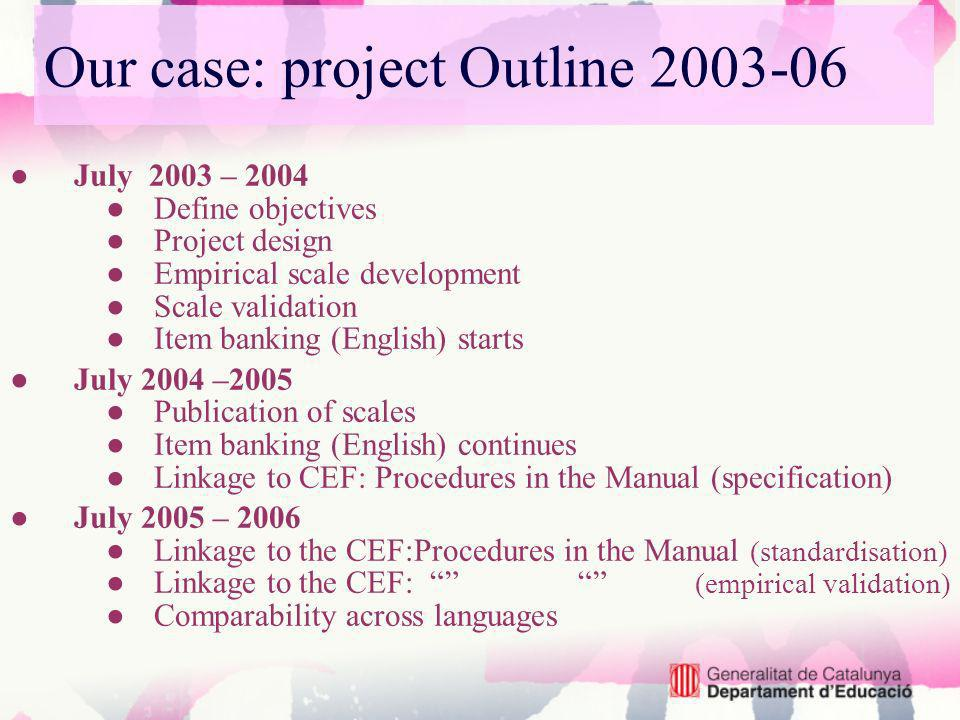 Our case: project Outline 2003-06 July 2003 – 2004 Define objectives Project design Empirical scale development Scale validation Item banking (English) starts July 2004 –2005 Publication of scales Item banking (English) continues Linkage to CEF: Procedures in the Manual (specification) July 2005 – 2006 Linkage to the CEF:Procedures in the Manual (standardisation) Linkage to the CEF: (empirical validation) Comparability across languages