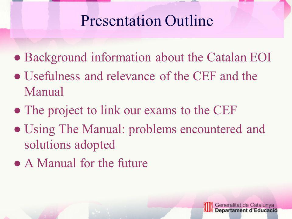 The Manual: steps Four inter-related sets of procedures which contribute to the validation process: Familiarisation Specification Standardisation Empirical Validation