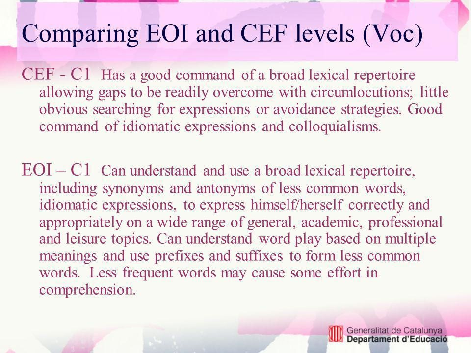 CEF - C1 Has a good command of a broad lexical repertoire allowing gaps to be readily overcome with circumlocutions; little obvious searching for expressions or avoidance strategies.