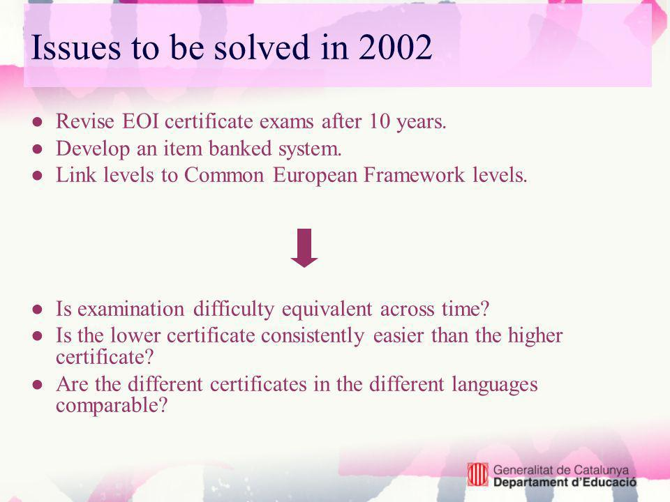 Issues to be solved in 2002 Revise EOI certificate exams after 10 years.