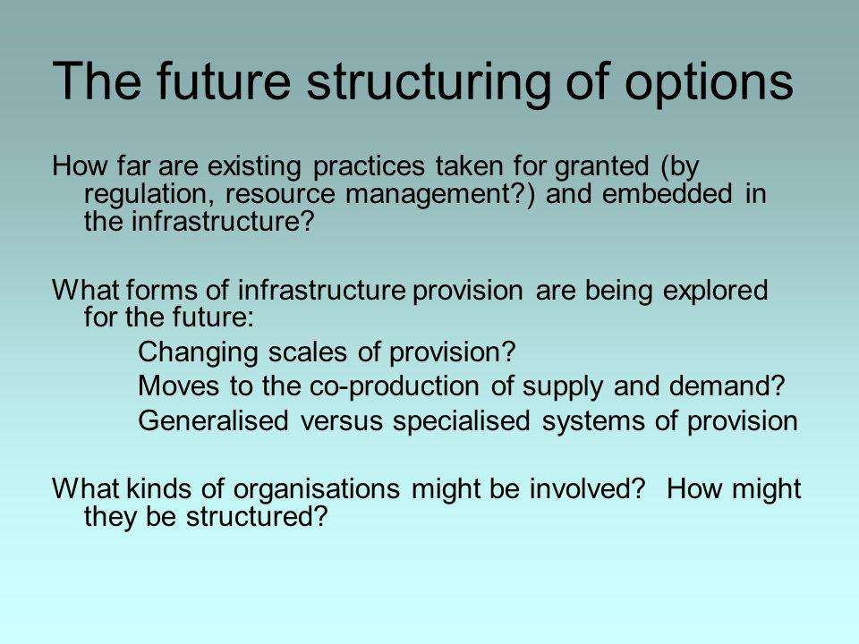 The future structuring of options How far are existing practices taken for granted (by regulation, resource management ) and embedded in the infrastructure.