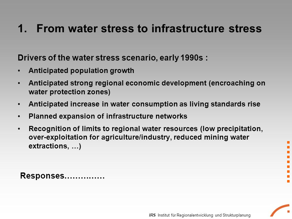 IRS Institut für Regionalentwicklung und Strukturplanung 1. From water stress to infrastructure stress Drivers of the water stress scenario, early 199