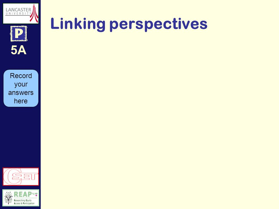 5A Linking perspectives Record your answers here