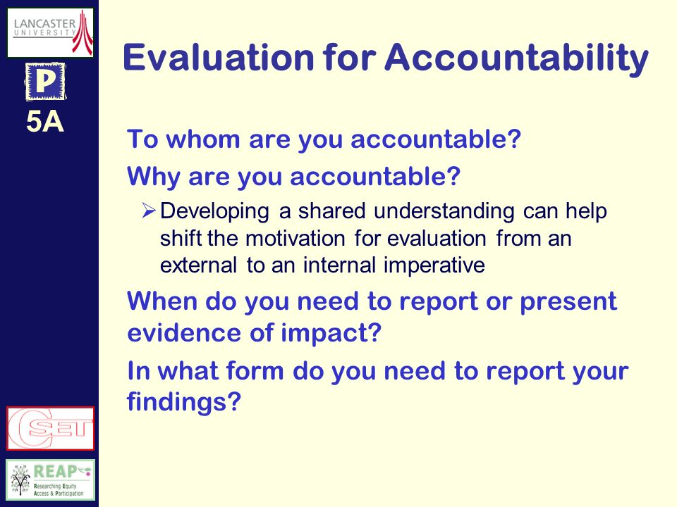 5A Evaluation for Accountability Record your answers here