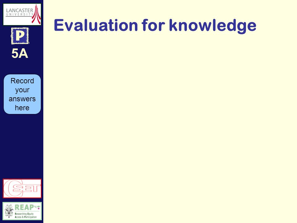 5A Evaluation for knowledge Record your answers here