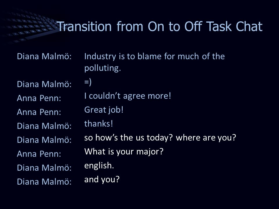 Transition from On to Off Task Chat Diana Malmö: Anna Penn: Diana Malmö: Anna Penn: Diana Malmö: Industry is to blame for much of the polluting.