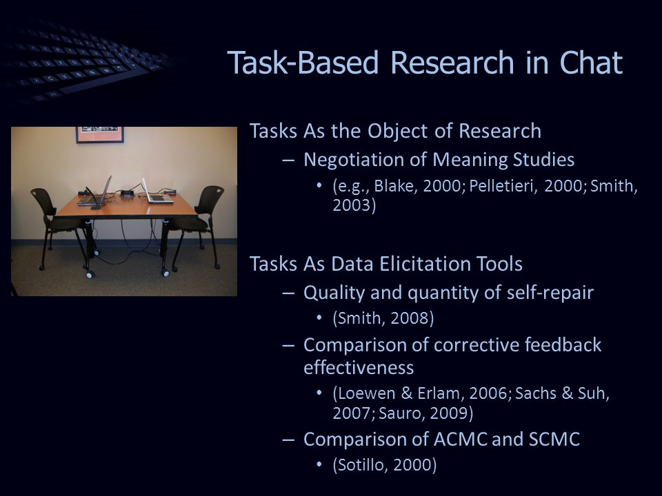 Task-Based Research in Chat Tasks As the Object of Research – Negotiation of Meaning Studies (e.g., Blake, 2000; Pelletieri, 2000; Smith, 2003) Tasks As Data Elicitation Tools – Quality and quantity of self-repair (Smith, 2008) – Comparison of corrective feedback effectiveness (Loewen & Erlam, 2006; Sachs & Suh, 2007; Sauro, 2009) – Comparison of ACMC and SCMC (Sotillo, 2000)