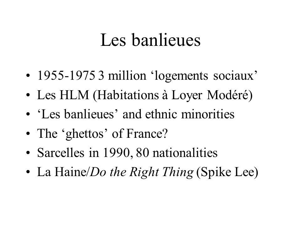Les banlieues 1955-1975 3 million logements sociaux Les HLM (Habitations à Loyer Modéré) Les banlieues and ethnic minorities The ghettos of France? Sa