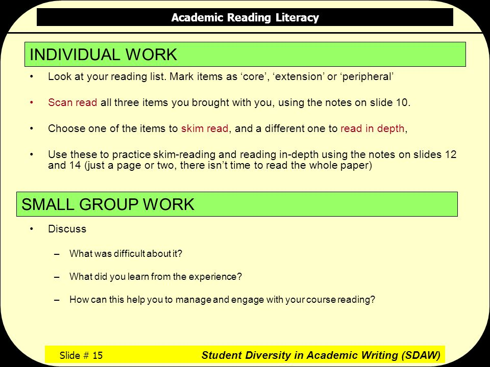 Academic Reading Literacy Slide # 15 Student Diversity in Academic Writing (SDAW) Look at your reading list.