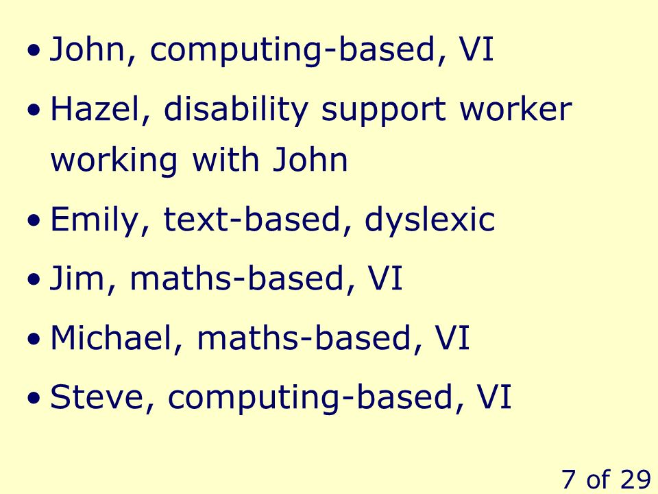 7 of 29 John, computing-based, VI Hazel, disability support worker working with John Emily, text-based, dyslexic Jim, maths-based, VI Michael, maths-based, VI Steve, computing-based, VI