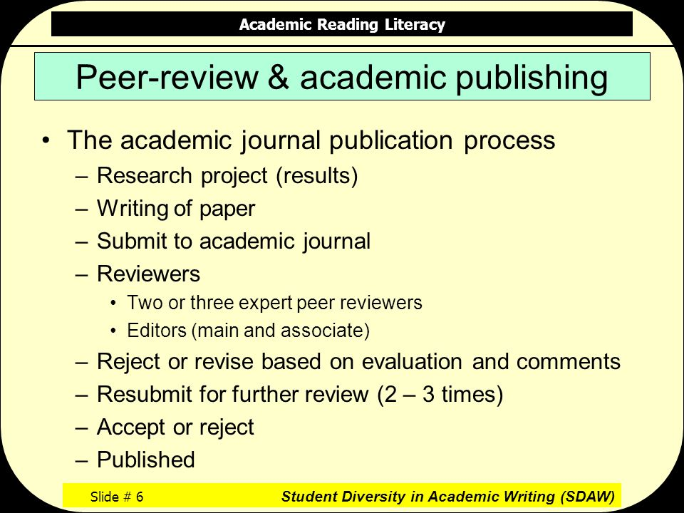 Academic Reading Literacy Slide # 6 Student Diversity in Academic Writing (SDAW) Peer-review & academic publishing The academic journal publication process –Research project (results) –Writing of paper –Submit to academic journal –Reviewers Two or three expert peer reviewers Editors (main and associate) –Reject or revise based on evaluation and comments –Resubmit for further review (2 – 3 times) –Accept or reject –Published