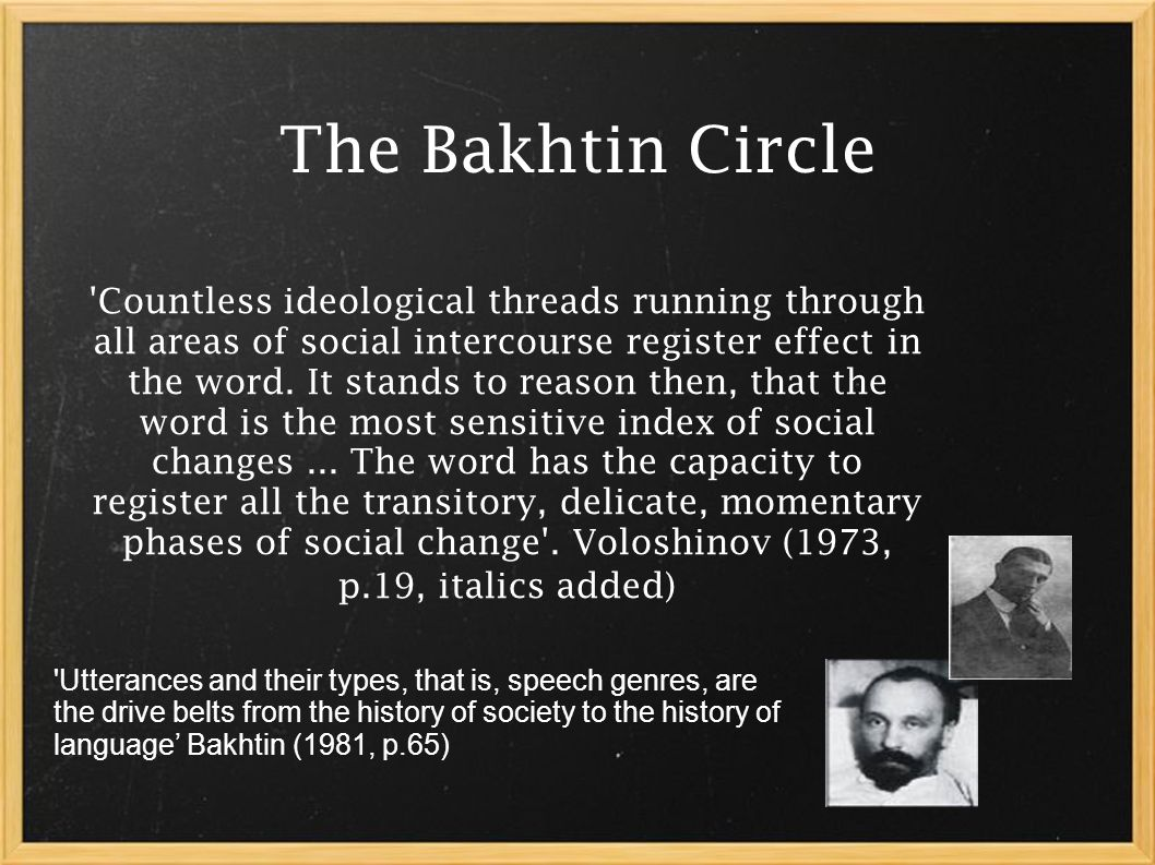 The Bakhtin Circle Countless ideological threads running through all areas of social intercourse register effect in the word.