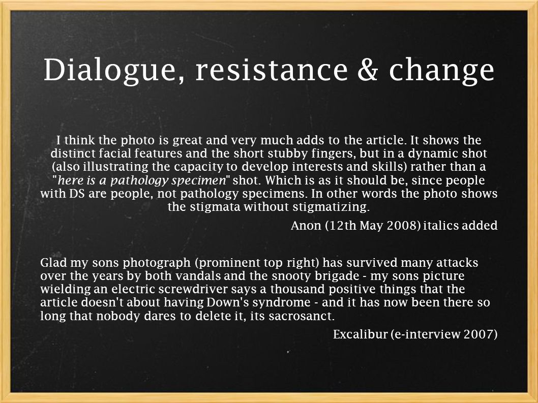 Dialogue, resistance & change I think the photo is great and very much adds to the article.