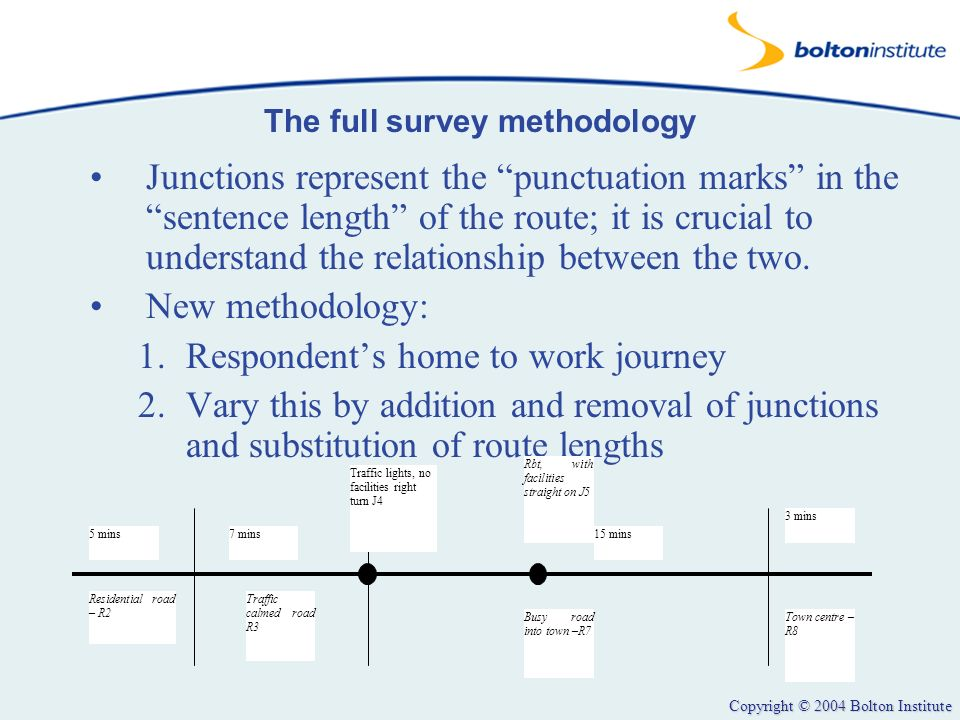 Copyright © 2004 Bolton Institute The full survey methodology Junctions represent the punctuation marks in the sentence length of the route; it is cru