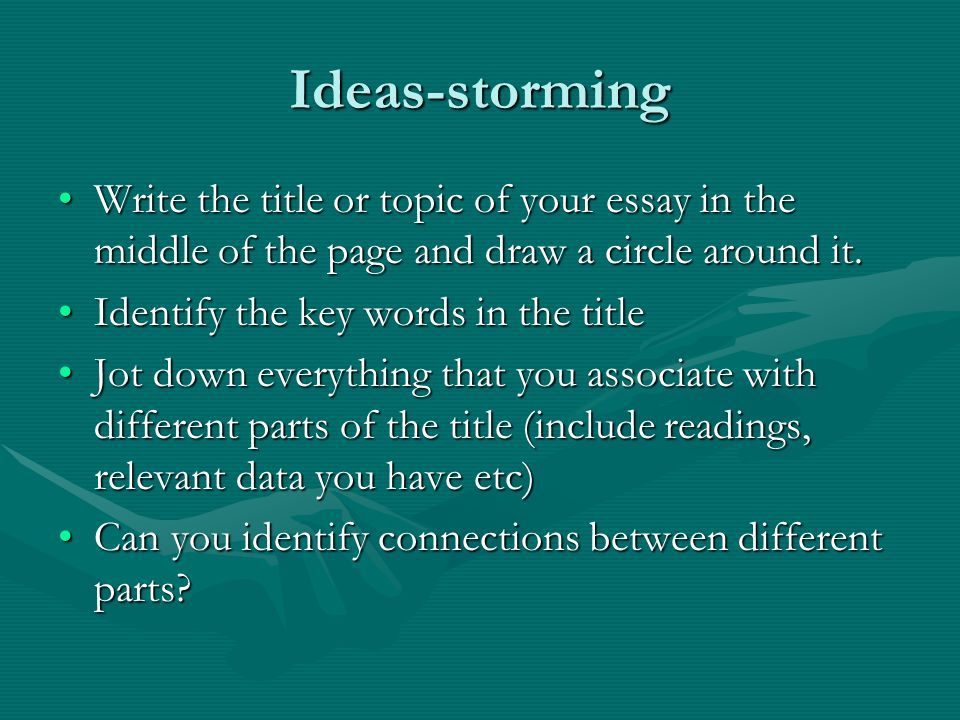 Ideas-storming Write the title or topic of your essay in the middle of the page and draw a circle around it.Write the title or topic of your essay in the middle of the page and draw a circle around it.