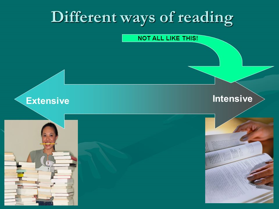 Different ways of reading Extensive Intensive NOT ALL LIKE THIS!