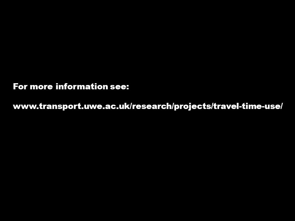 For more information see: www.transport.uwe.ac.uk/research/projects/travel-time-use/
