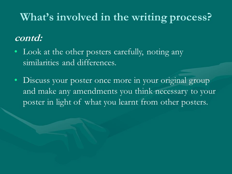 Whats involved in the writing process? contd: Look at the other posters carefully, noting any similarities and differences. Discuss your poster once m