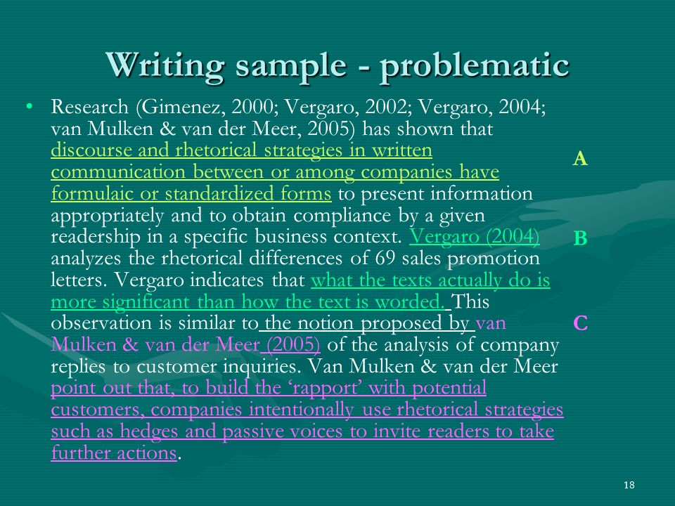 18 Writing sample - problematic Research (Gimenez, 2000; Vergaro, 2002; Vergaro, 2004; van Mulken & van der Meer, 2005) has shown that discourse and rhetorical strategies in written communication between or among companies have formulaic or standardized forms to present information appropriately and to obtain compliance by a given readership in a specific business context.