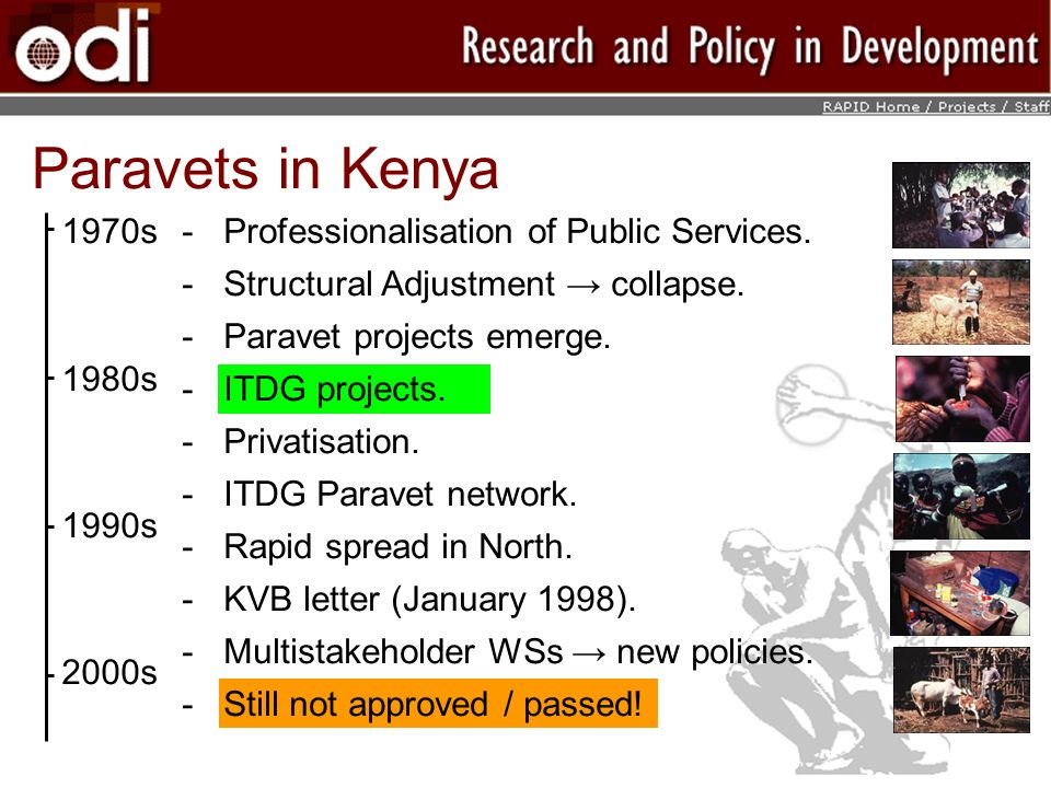 Paravets in Kenya 1970s 1980s 1990s 2000s ­Professionalisation of Public Services.