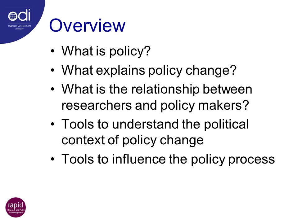 Overview What is policy? What explains policy change? What is the relationship between researchers and policy makers? Tools to understand the politica