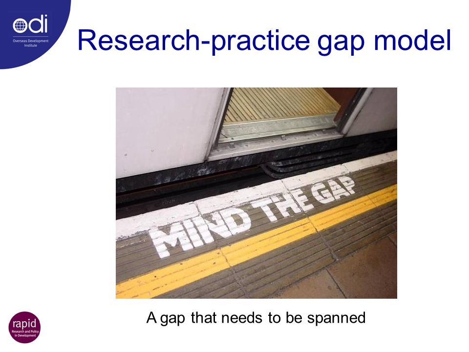 Research-practice gap model A gap that needs to be spanned