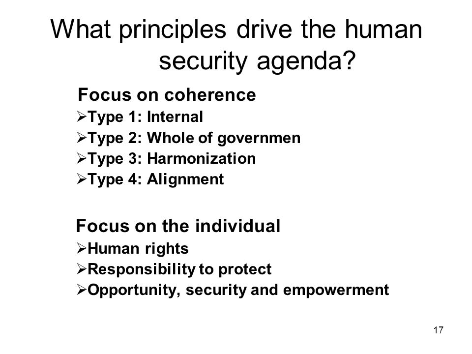 17 What principles drive the human security agenda.