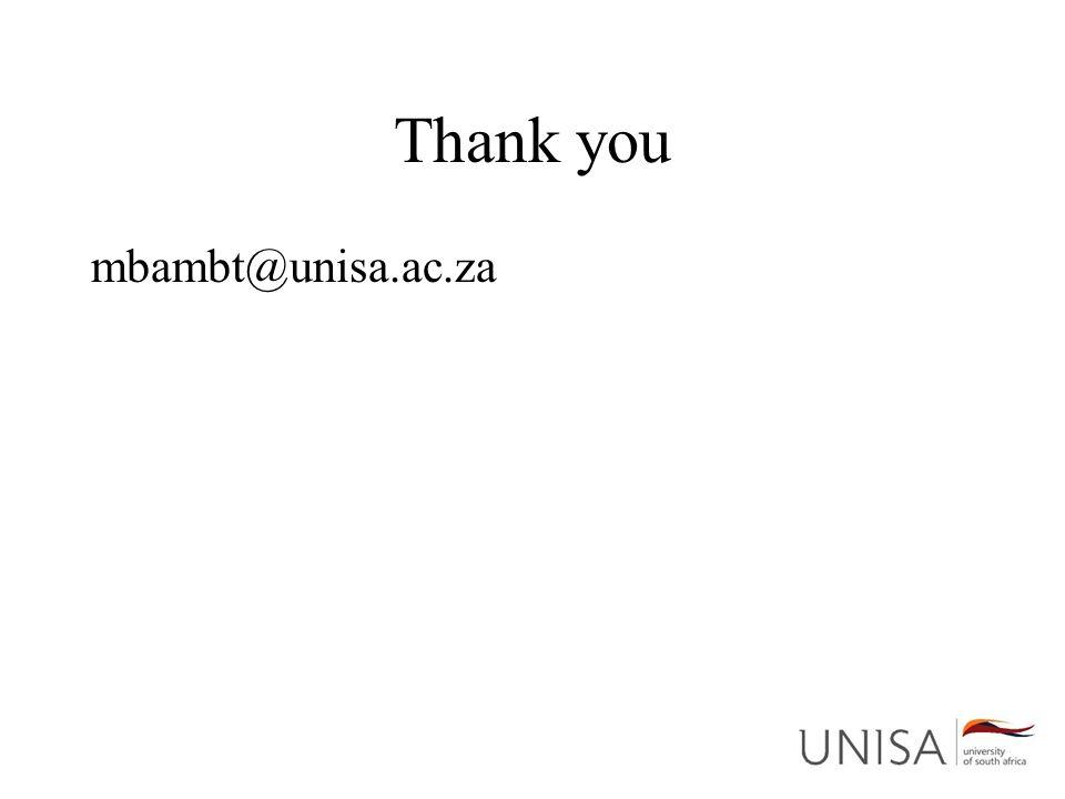 Thank you mbambt@unisa.ac.za