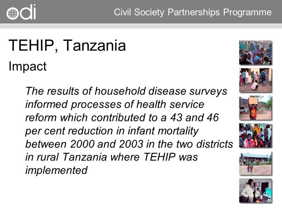 Research and Policy in Development RAPID Programme Civil Society Partnerships Programme TEHIP, Tanzania Impact The results of household disease survey