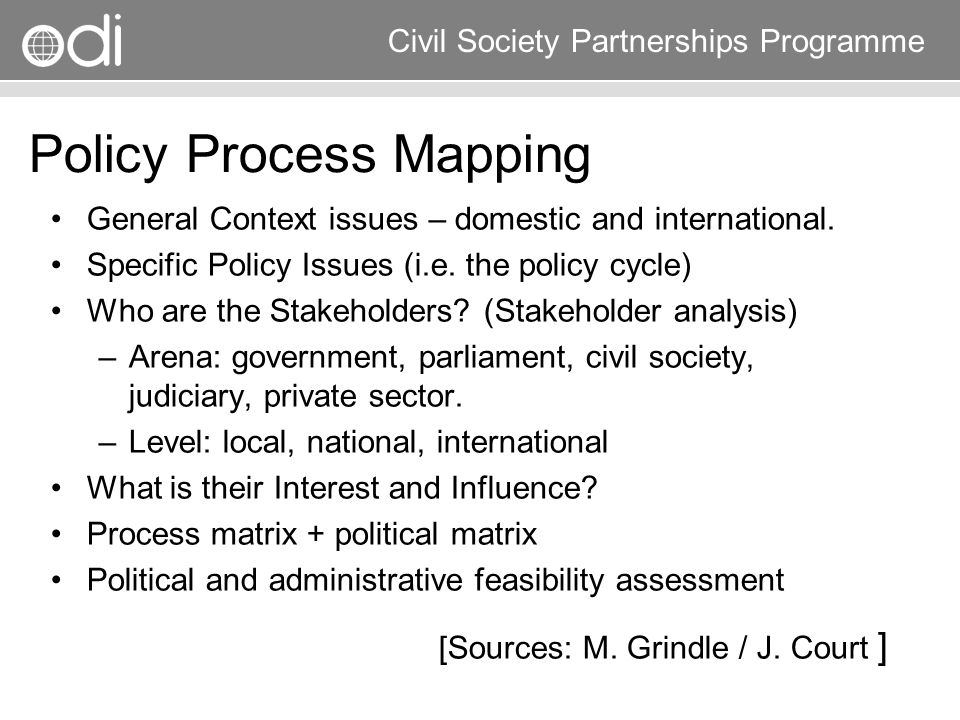 Research and Policy in Development RAPID Programme Civil Society Partnerships Programme Policy Process Mapping General Context issues – domestic and i