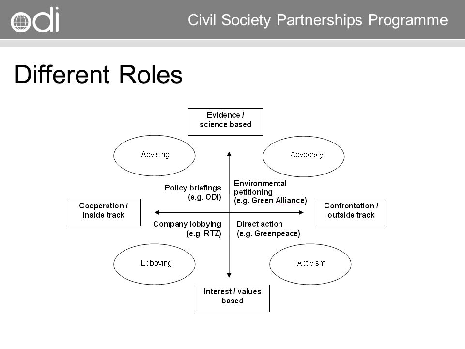 Research and Policy in Development RAPID Programme Civil Society Partnerships Programme Different Roles