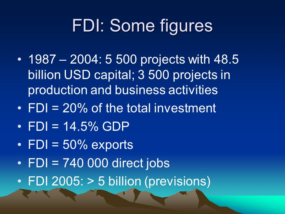 FDI: Some figures 1987 – 2004: 5 500 projects with 48.5 billion USD capital; 3 500 projects in production and business activities FDI = 20% of the tot