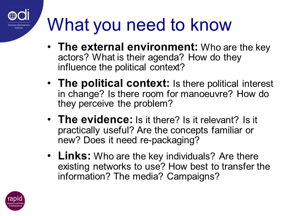 What you need to know The external environment: Who are the key actors.