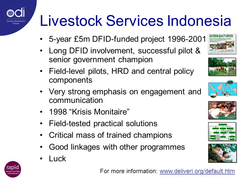 Livestock Services Indonesia 5-year £5m DFID-funded project 1996-2001 Long DFID involvement, successful pilot & senior government champion Field-level pilots, HRD and central policy components Very strong emphasis on engagement and communication 1998 Krisis Monitaire Field-tested practical solutions Critical mass of trained champions Good linkages with other programmes Luck For more information: www.deliveri.org/default.htm