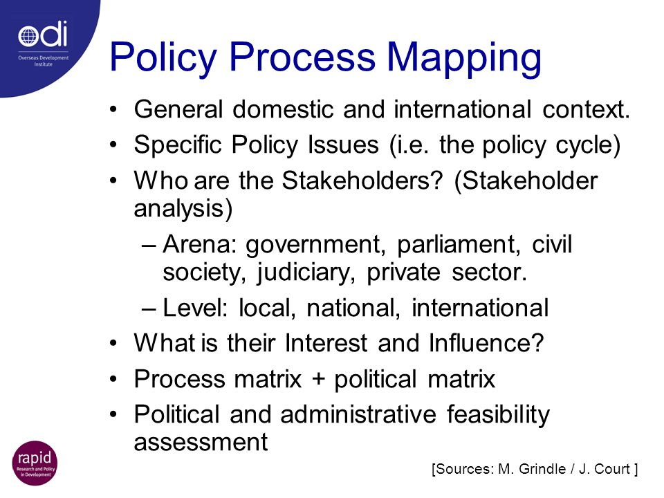 Policy Process Mapping General domestic and international context.