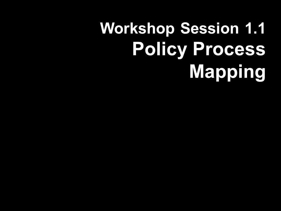 Workshop Session 1.1 Policy Process Mapping