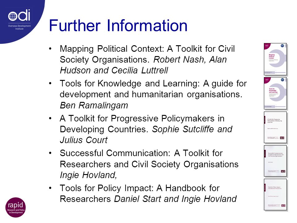 Further Information Mapping Political Context: A Toolkit for Civil Society Organisations.