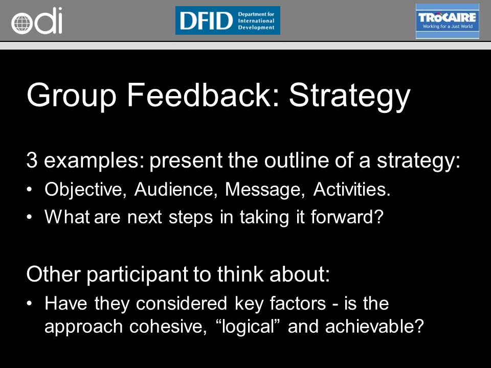 RAPID Programme Group Feedback: Strategy 3 examples: present the outline of a strategy: Objective, Audience, Message, Activities.