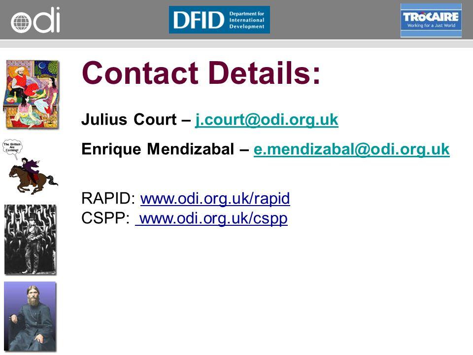 RAPID Programme Contact Details: Julius Court – j.court@odi.org.ukj.court@odi.org.uk Enrique Mendizabal – e.mendizabal@odi.org.uke.mendizabal@odi.org.uk RAPID: www.odi.org.uk/rapid CSPP: www.odi.org.uk/cspp